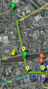 Screenshot from the Google Maps version of the Mapping Dubliners Project showing part of Lenahan's (yellow line) and Little Chandler's (green line) paths.