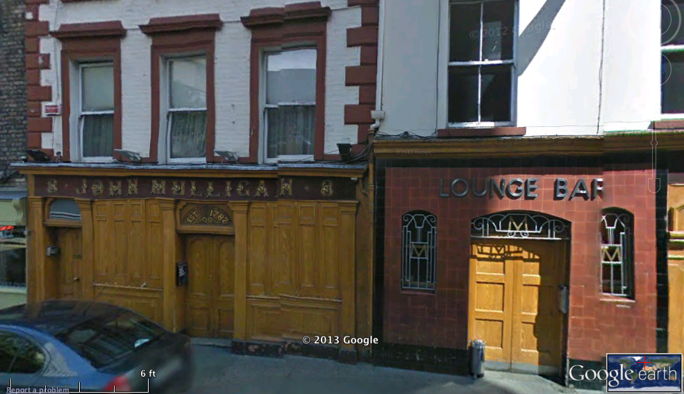 Screenshot of Google Earth street view of Mulligan's from the map. Copyright Google 2013.