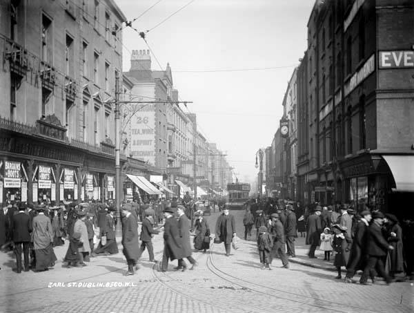 Earl Street. photograph by Robert French from National Library of Ireland's digitized Lawrence Collection at http://catalogue.nli.ie/Record/vtls000040954