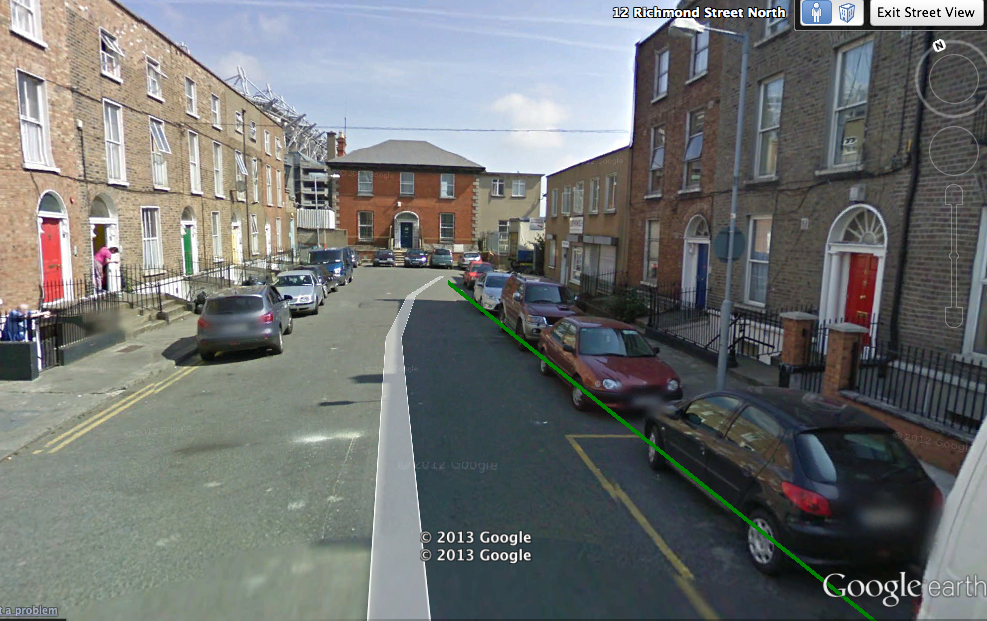 From the Google Earth version of the map, street view of North Richmond Street, facing the bind end.