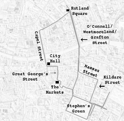 "The lines forming the route of Corley and Lenehan, then Lenehan alone, in ""Two Gallants."""