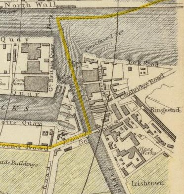 Close-Up of Ringsend on an 1883 Letts, Son & Co. Map of Dublin. Available at David Rumsey Collection Online.