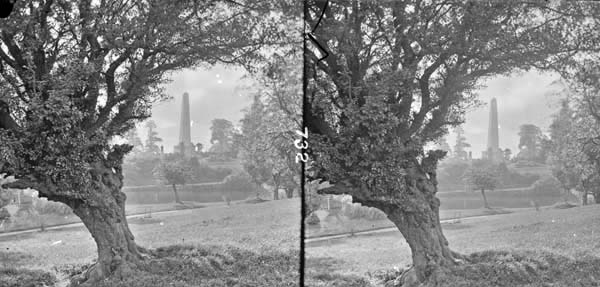 Long shot Wellington Memorial, Phoenix Park, Dublin City, Co. Dublin. From the National Library of Ireland's The Stereo Pairs Collection, featuring the work of photographers James Simonton and Frederick Holland Mares. http://catalogue.nli.ie/Record/vtls000564051