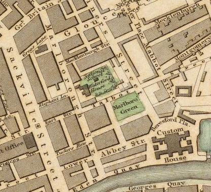 1836 map of Dublin, showing Marlboro Green just northwest of the Custom House and east of Marlborough Street. Map by the Society for the Diffusion of Useful Knowledge (Great Britain) , available at the online David Rumsey Map Collection.