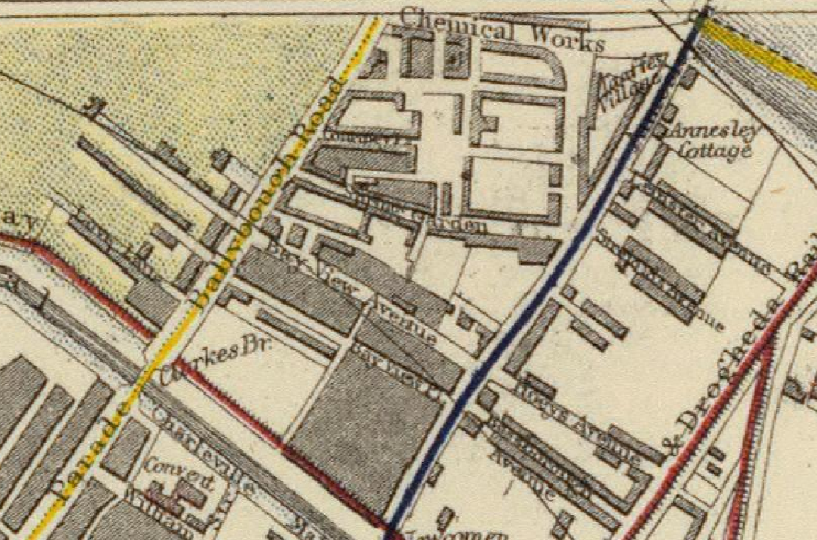 "Screenshot of the section of the 1883 Letts, Son & Co. ""Plan of the city of Dublin"" map containing North Strand Road. The road is under the blue line that indicates a tram route."