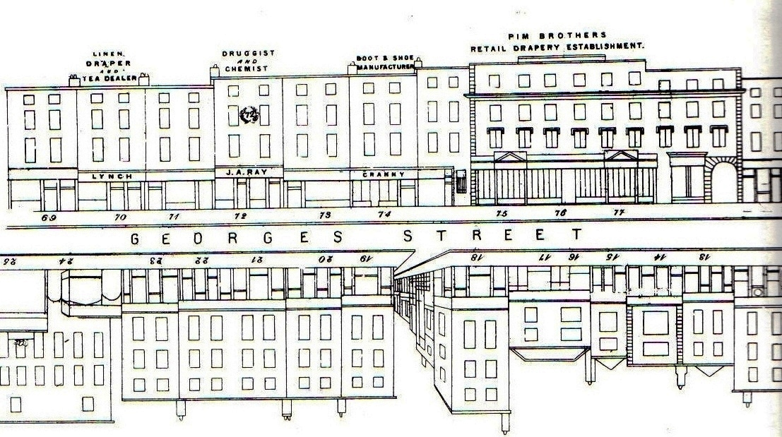 Diagram for businesses in South Great George's Street, including Pim's Department Store.