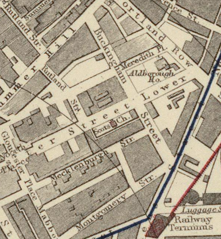 Section of Letts, Son & Co. 1883 Plan of the city of Dublin map showing the entire length of Buckingham Street and the Railway Terminus. Made available at the David Rumsey Map Collection online.