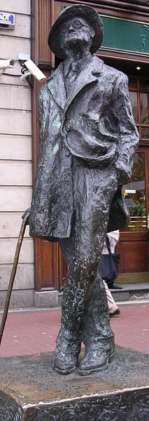 "Statue of James Joyce in Earl Street. Nicknamed by locals ""Prick with a Stick,"" the statue was erected in 1990."