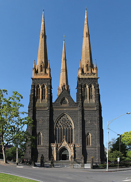 St. Patrick's Cathedral, the first Catholic church in Melbourne, Australia. Construction of the cathedral began in 1958, and though the nave was completed within ten years, the rest of the structure was only finally completed in 1939.