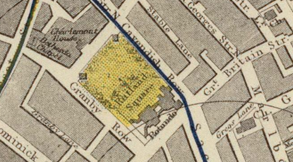 "A section of the 1883 Letts, Son & Co. map, ""Plan of the city of Dublin,"" showing Rutland Square. Made available by the David Rumsey Map Collection online."