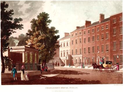 Charlemont House, engraving by James Malton, 1793, via National Library of Ireland.