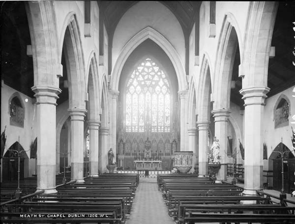 Interior of St. Catherine's in Meath Street, photographed by Robert French between 1865 and 1914. Available through the National Library of Ireland's Lawrence Photograph Collection.