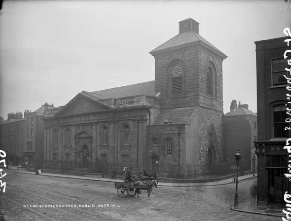St. Catherine's Church of Ireland in Thomas Street, photographed by Robert French between 1865 and 1914. Available through the National Library of Ireland's Lawrence Photograph Collection.