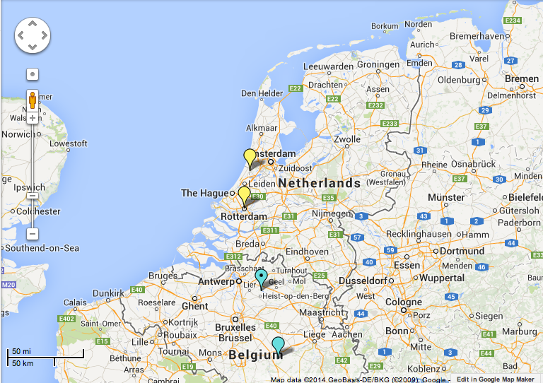 screenshot of the dubliners map showing holland and rotterdam and the two belgium references to