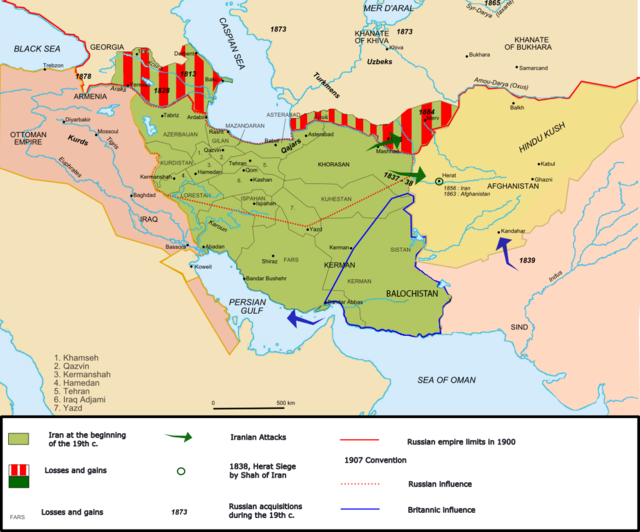 Map of 19th-Century Iran. Creative Commons Wikimedia image at http://en.wikipedia.org/wiki/File:Map_Iran_1900-en.png