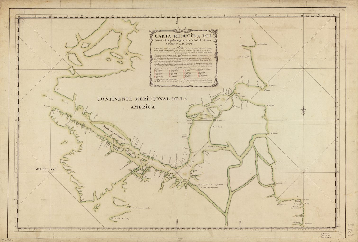 """""""Map of the Straits of Magellan and Part of the Land of Fire, Prepared in 1786"""" from Antonio de Córdoba's expedition, the first scientific mapping of the region. Available at World Digital Library: http://www.wdl.org/en/item/52/"""
