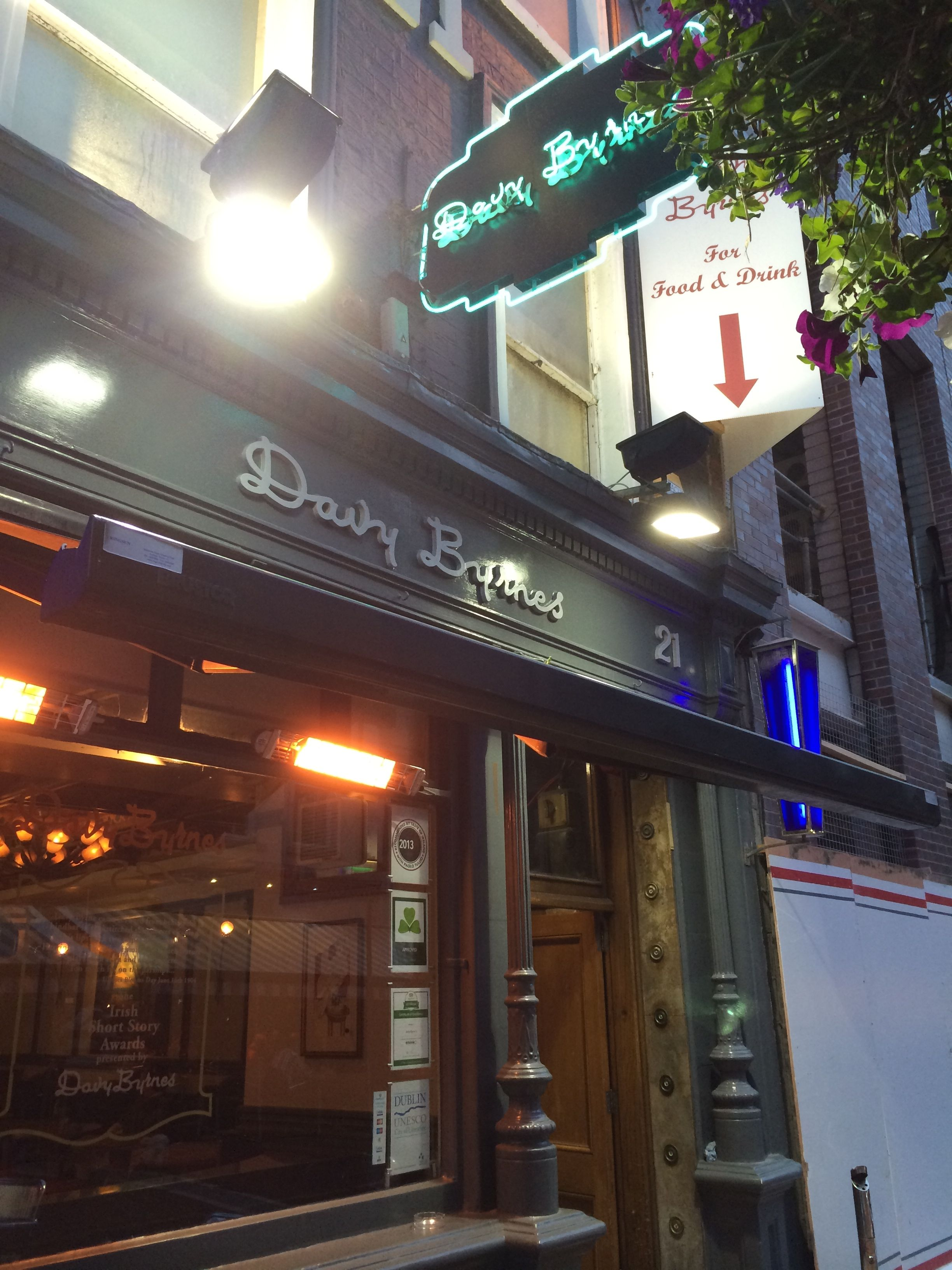 Front of Davy Byrne's. Photo by Jasmine Mulliken, 29 June 2014.