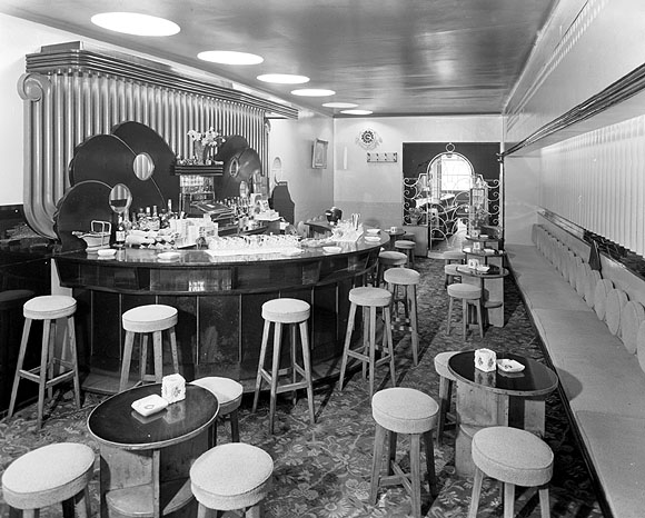 Interior of Davy Byrnes, photographed between 1930 and 1950. From the Valentine Photographic Collection at the National Library of Ireland.