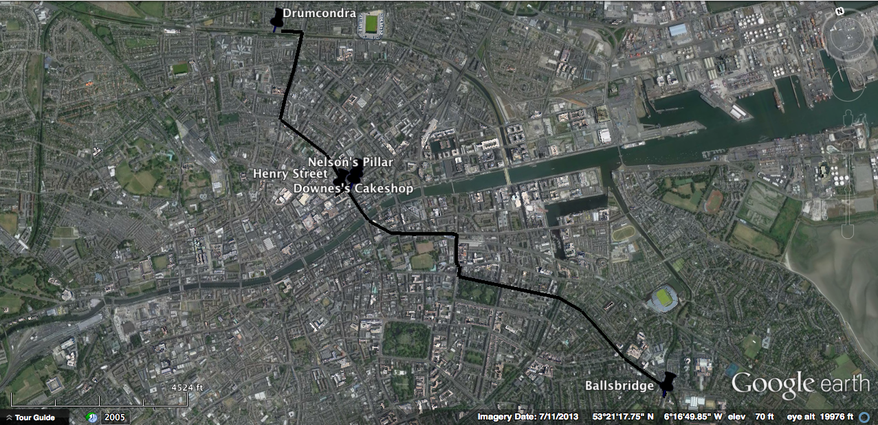 Screenshot of the Google Earth map showing Maria's route in Clay, beginning in Ballsbridge in the southeast and ending in Drumcondra in the northwest.