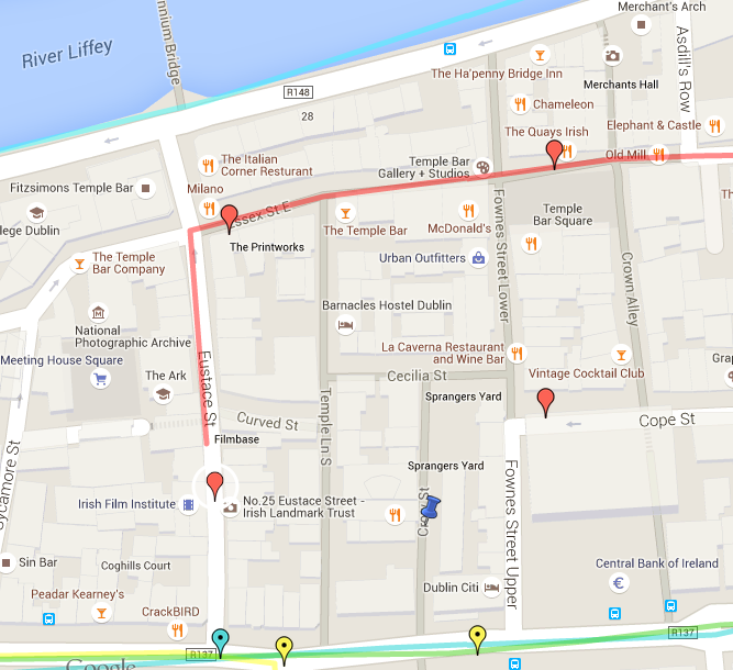 Screenshot from the Google map showing Eustace Street and the beginning of Farrington's route.