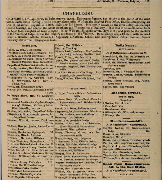Screenshot of a digitized 1900 Thom's DIrectory. The page shows entries for Chapelizod. Note Mr. T. Walker of Bridge Inn near the bottom of the middle column. Also, note Mr. Robt. Glenthorn Broadbent at the top left. He is purportedly a friend of Joyce's father, John Joyce. Broadbent ran the Mullingar House, another Chapelizod pub, which features in Finnegan's Wake. Directory made available online by South Dublin County Libraries, http://source.southdublinlibraries.ie/handle/10599/5105