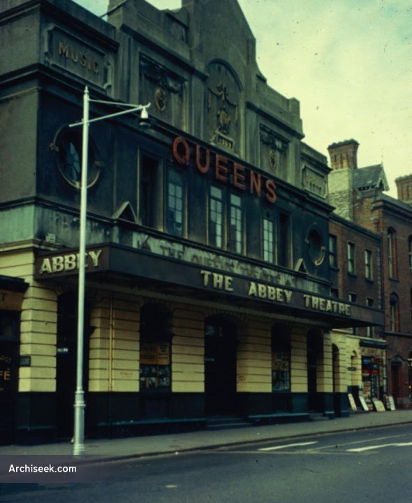Queen's Theatre, after it became home to the Abbey Theatre group in 1951. Image from Archiseek.