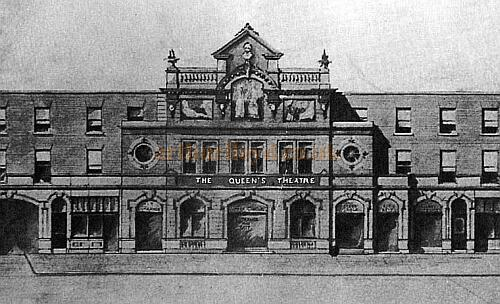 Queen's Theatre as depicted on a postcard featured on http://www.arthurlloyd.co.uk/Dublin/QueensTheatreDublin.htm with credit given to Ken Finlay.