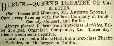 An entry in the 1885 Era Almanack describing the Queen's Theatre. Image from http://www.arthurlloyd.co.uk/Dublin/QueensTheatreDublin.htm with credit to the Sensation Press.