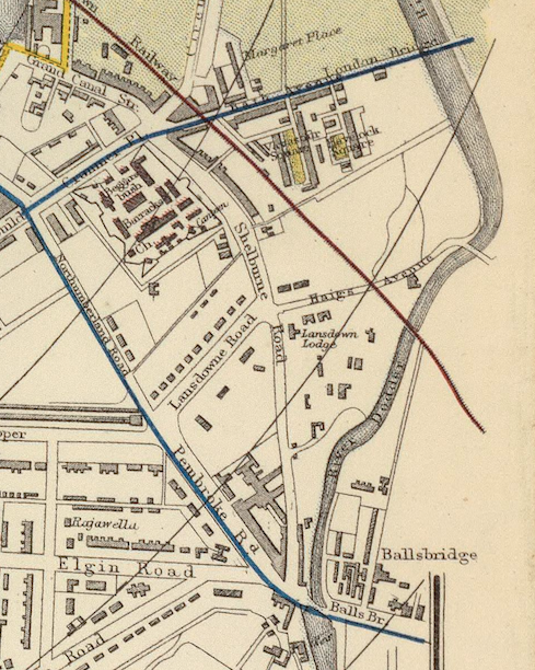 A section of the 1883 Letts Son & Co. map of Dublin. The blue lines indicate tram routes, the red railways, and the yellow municipal boundaries. Full map available at the online David Rumsey Map Collection.
