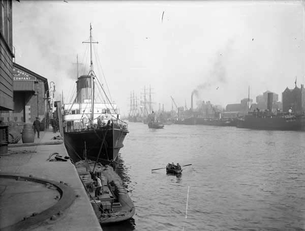 This photo of the North Wall shows some of the docks and ports along the eastern end of the Liffey. Photographed by Robert French between 1865 and 1914. From the National Library of Ireland's digitized Lawrence Photograph Collection.