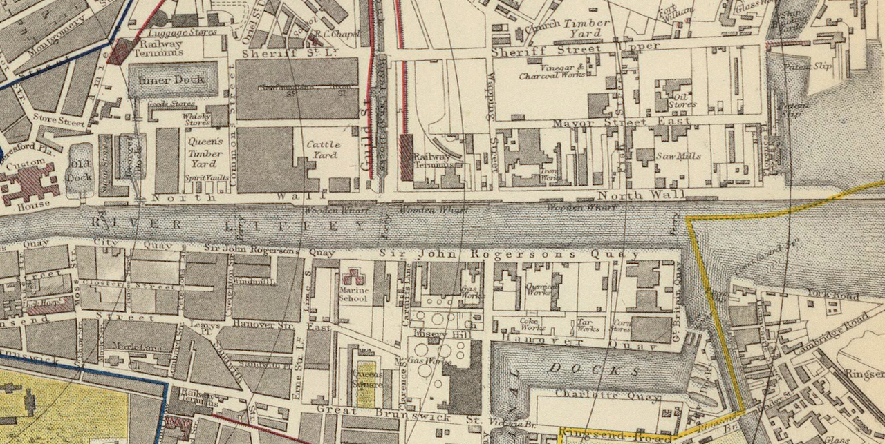A section of an 1883 Letts, Son, and Company map of Dublin showing the eastern end of Liffey between the Custom House and the river's mouth. Along the north bank are the main docks and port industrial complexes.