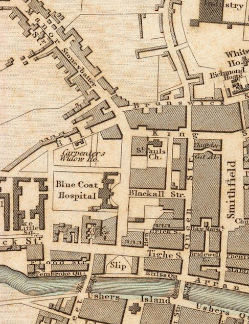 "A section of an 1836 map showing ""Stoneybatter"" (as opposed to ""Stoney Batter"" as indicated in ""The Dead"") just north of Usher's Island."