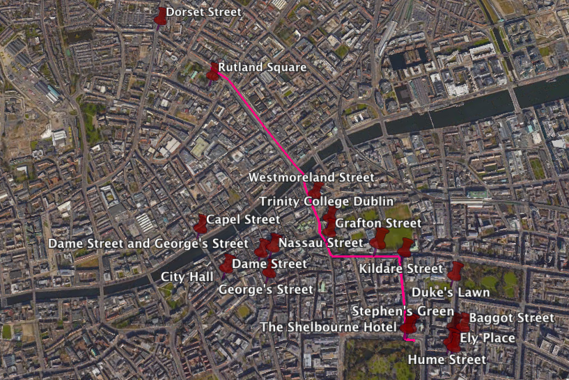 "Screenshot of ""Two Gallants"" places on the Google Earth version of the map. Nassau Street is in the middle of the east-west portion of the path."
