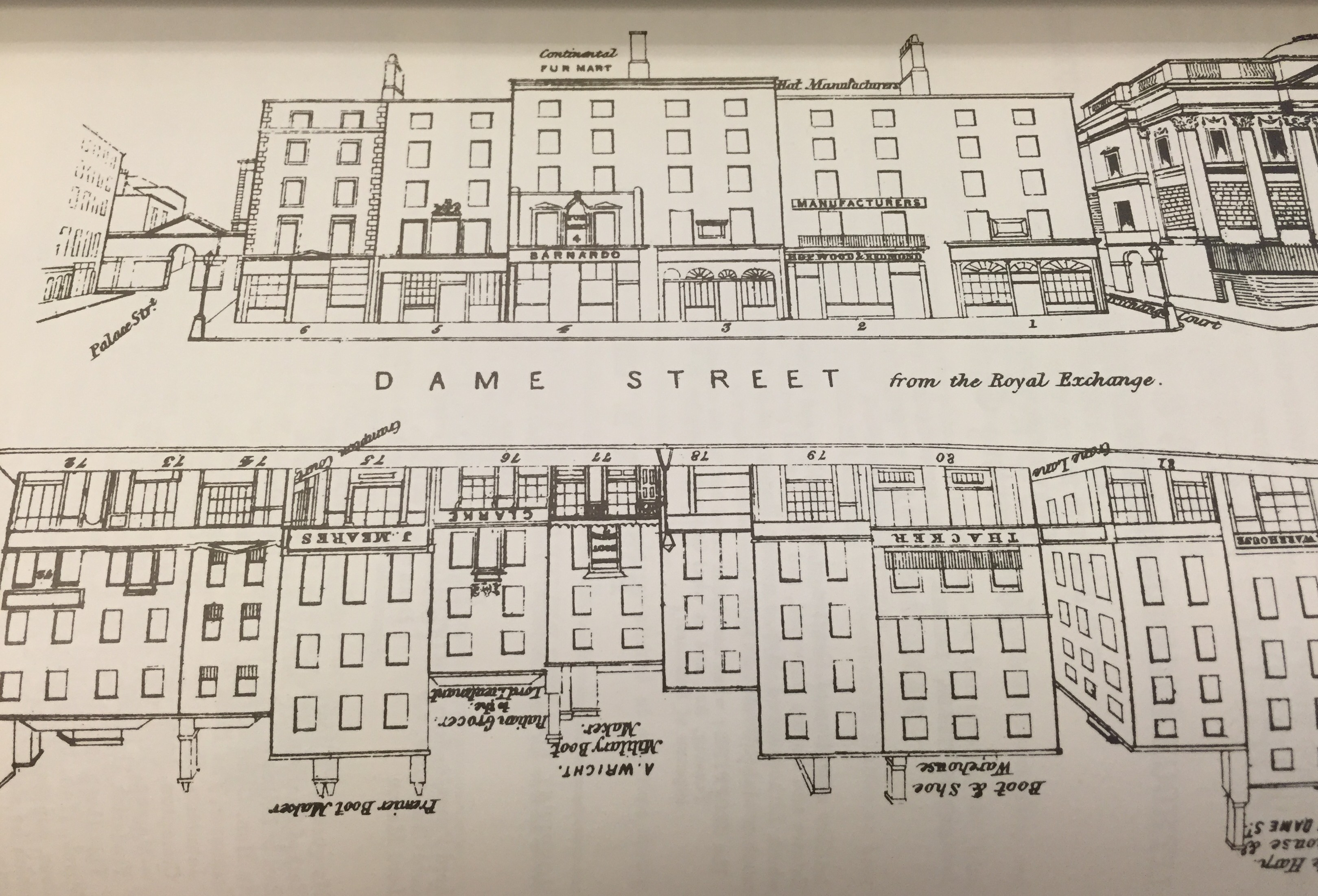 Diagram of Dame Street from Henry Shaw's The Dublin Pictorial Guide & Directory of 1850. Bewley's is located at 6 Dame Street, in the upper left of the image, at the intersection of Palace Street.