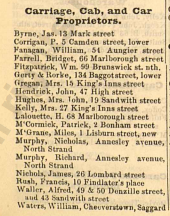 Page 1876 of Thom's 1892 Directory showing Francis Rush (penultimate listing) as a carriage, cab, and car proprietor.
