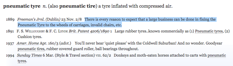 "Definition and quotations for ""pneumatic tyre"" in Oxford English Dictionary online."