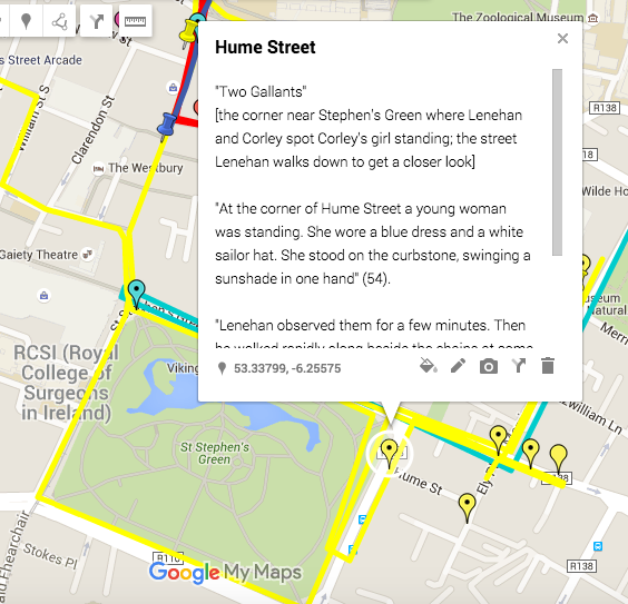 Screenshot from the Google map version, showing the corner of Hume Street where it meets the east side of Stephen's Green. The slavey would probably have been standing on the northeast or sourtheast corner, and Corley and Lenehan would see her from their position at the northeast corner of the park.