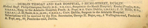 Segment of an 1892 Thom's directory page showing a listing for Dublin Throat and Ear Hospital in Hume Street. From http://griffiths.askaboutireland.ie