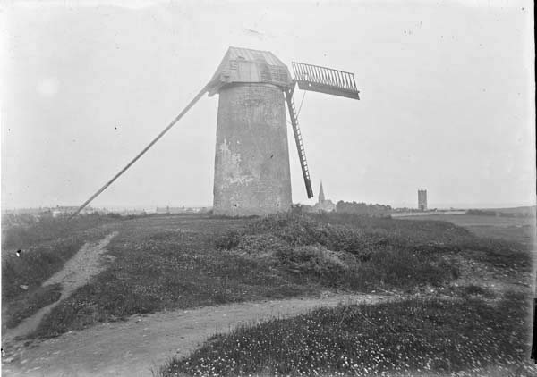 A windmill in Skerries, photographed between 1900 and 1939. From the National Library of Ireland's Eason Collection.