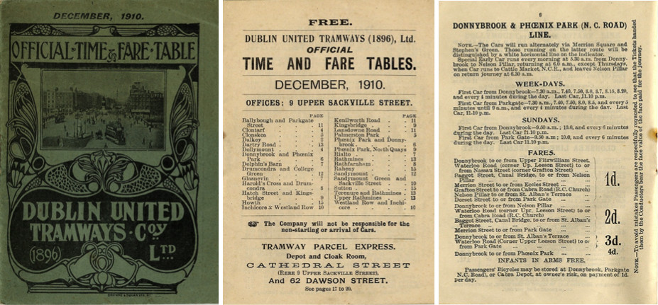 From the National Archives; Dublin Tram Timetable, 1910.