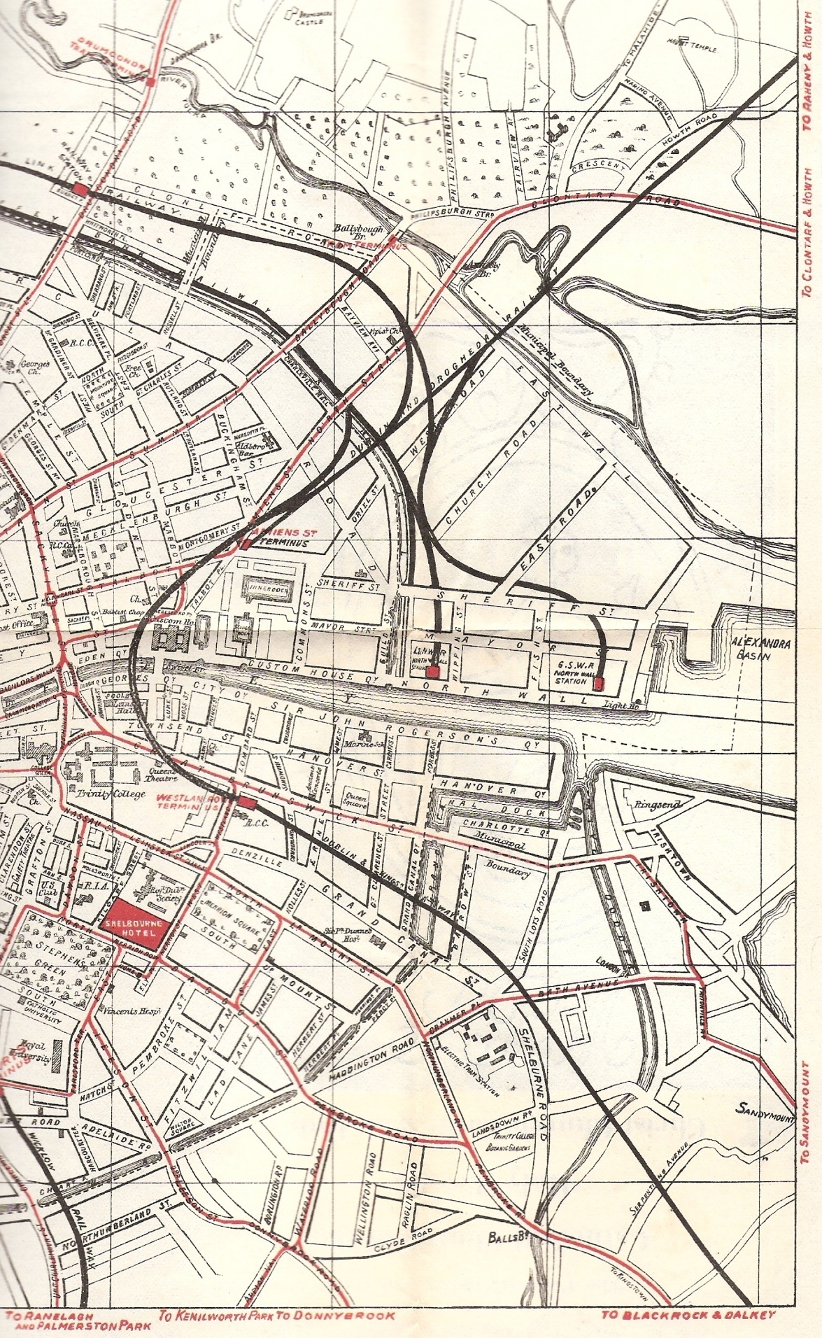 "From a larger map of Dublin's tramways, this subsection displays the Donnybrook tram route featured in ""Two Gallants."" Dated 1912 on the back, this map was likely incorporated into a Dublin guidebook."