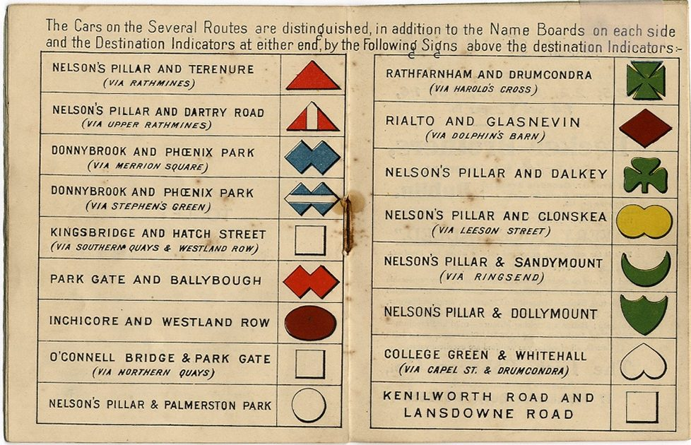 From the National Archives; Dublin Timetable, 1910.