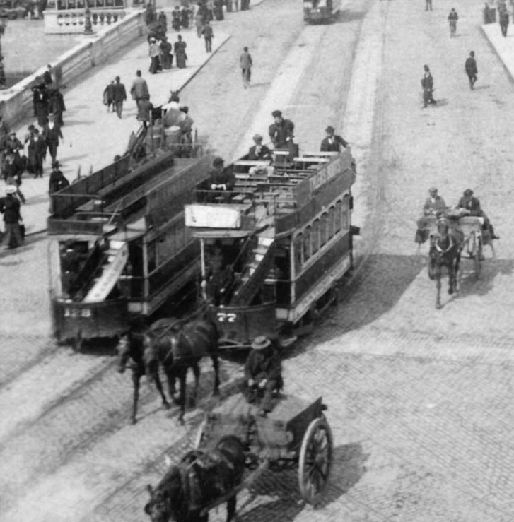 Horse-drawn tramcars on Sackville Street, 1896.