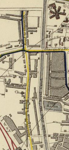 "Section of Letts, Son & Co. 1883 Map titled Plan of the City of Dublin. The yellow vertical line shows the road called both ""Road to Glasnevin"" and ""Phibsborough Road."""