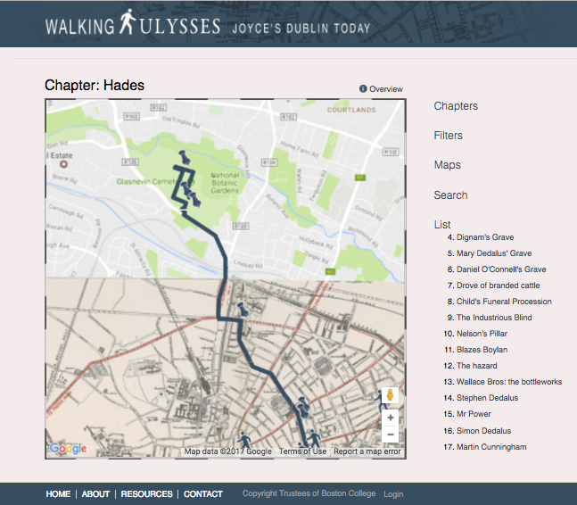 "Screenshot of the ""Hades"" map on the Walking Ulysses project out of Boston College."