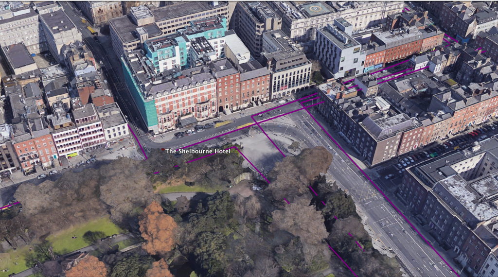 Screenshot of the Google Earth map showing the several traversals and re-traversals of Lenehan that take him in proximity of the Shelbourne Hotel.